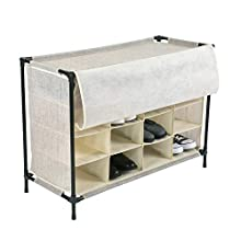 Simplify 16 Pair Stackable Shoe Rack Organizer with Cover for Closet Bedroom & Entryway, Beige