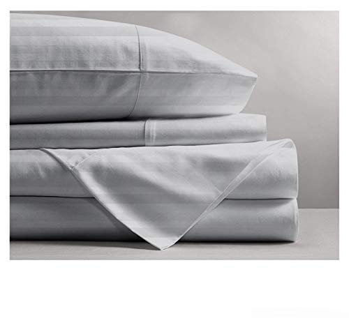 Mayfair Linen 800 Thread Count Striped Sheets for Bed -100% Long Staple Egyptian Cotton, Woven 800 TC Stripe King Silver 4 Piece Bedding Set Hotel Quality, OekoTex Certified (Sheets Striped Hotel)