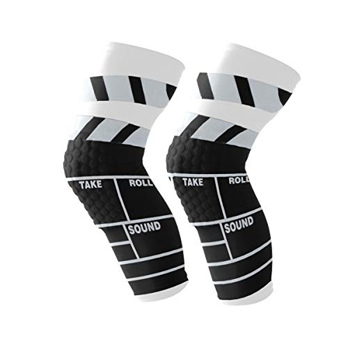 LEVEIS Classic Movie Clapboard Black Knee Support Brace Sleeve Non Slip Lite Compression Fit Squats Workouts for Men & Women ()