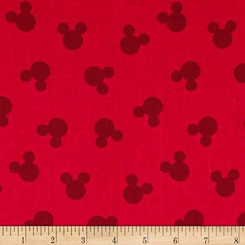 Springs Creative Products Disney Mickey Cotton Tossed Mickey Head Dot Fabric, Red, Fabric By The Yard