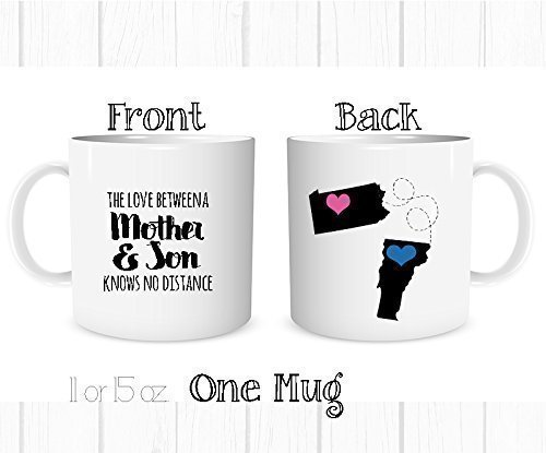 Personalized The Love Between a Mother and Son Knows No Distance Mug, Long Distance State Coffee Cup, All States and Countries