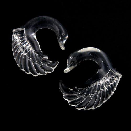 CloseoutWarehouse Swan Black Acrylic Earplugs