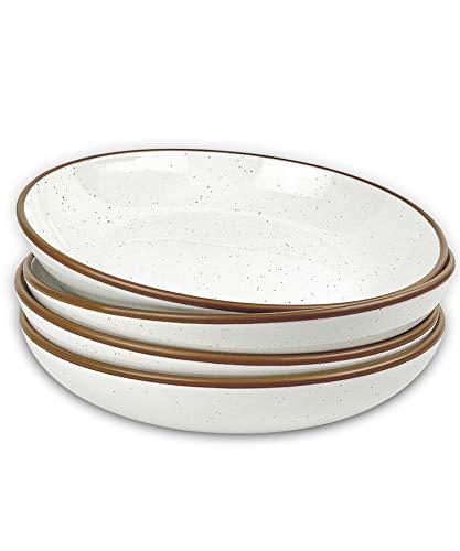 Mora Ceramic Large Pasta Bowls 30oz, Set of 4 – Serving, Salad, Dinner, etc Plate/Wide Bowl – Microwave, Oven…