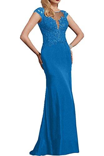 Partykleider Blau Festlichkleider Langes Brautmutterkleder Dunkel Braut Kurzarm mit Spitze Fuchsia La mia Abendkleider 7fgqW8Zw