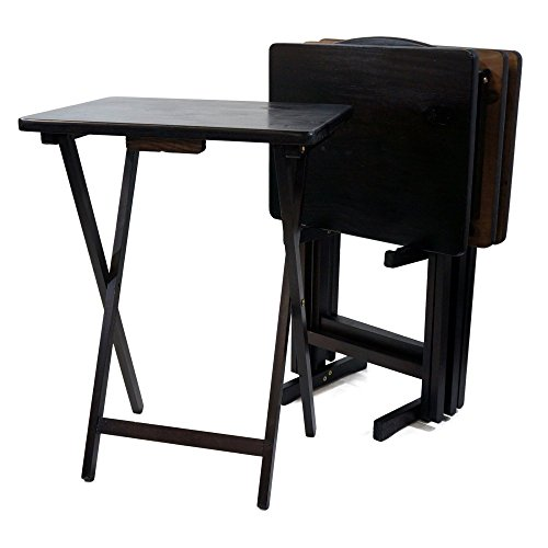 Tray Table with Stand (Set of 4) Finish: Espresso