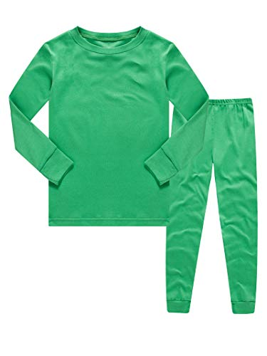 KikizYe Kids Pajamas Boys & Girls Solid Colors 2 Piece Pajama Set 100% Cotton Toddler Green Size 2T ()