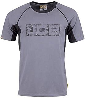 JCB Twin Pack T-Shirts Short Sleeve Work Shirt Top Grey White Tee Shirt 2 Pack