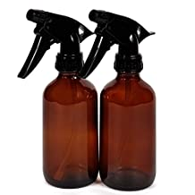 Vivaplex, 2, Large, 8 oz, Empty, Amber Glass Spray Bottles with Black Trigger Sprayers