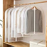 homeminda Garment Bag Dress,Clear 48 Inch Dress Bag Moth Proof Garment Bags Dust Cover White Breathable Full Zipper for Suit Dance Clothes Closet Pack of 6