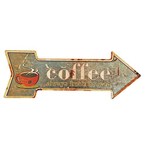 NEW DECO Coffee Metal Tin Sign with Rustic Retro Arrow Decorative Sings for Cafe Pub 16.9x6 inches ()