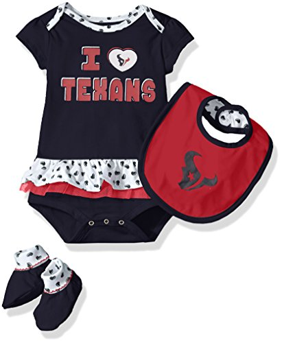 NFL Girls Newborn Houston Texans Team Love Onesie, Bib and Bootsies, 3-6 Months