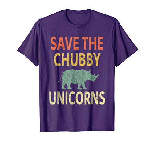 Save The Chubby Unicorns Shirt. Vintage Retro Colors Tee