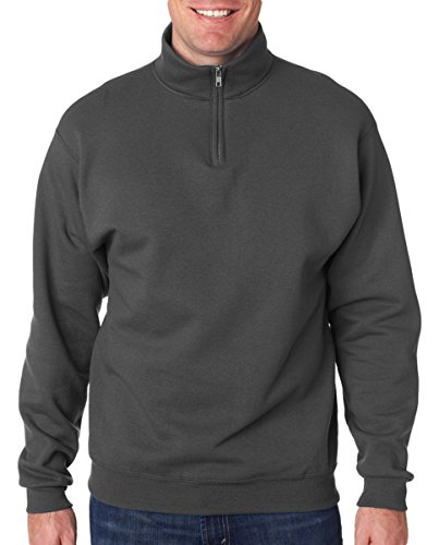 Jerzees mens 8 oz. 50/50 NuBlend Quarter-Zip Cadet Collar Sweatshirt(995M)-CHARCOAL GREY-L by Jerzees