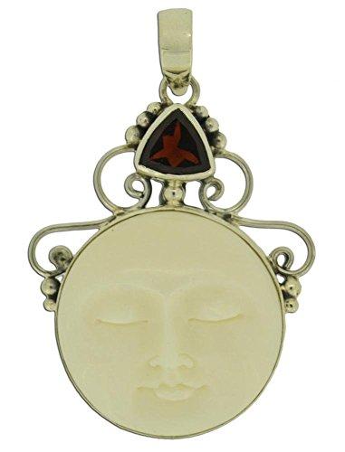 Soul Jewelry Red Garnet Moon Face 925 Sterling Silver ()