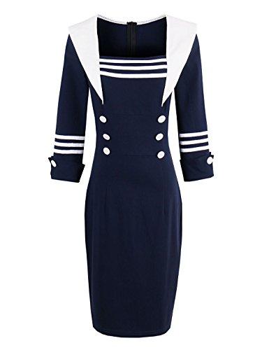 Elegant Nautical Women Style Patchwork Sexy CASF s Sleeve Blue Dress Summer Long RISxqcCH