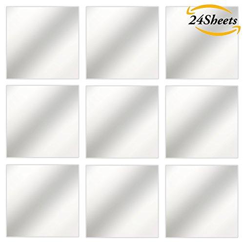 Aneco 24 Sheets Flexible Mirror Sheets Mirror Wall Stickers Self Adhesive Plastic Mirror Tiles for Home Decor, 6 Inch by 6 Inch (6 Inch by 6 Inch) (Wall Tiles Mirror Sticker)