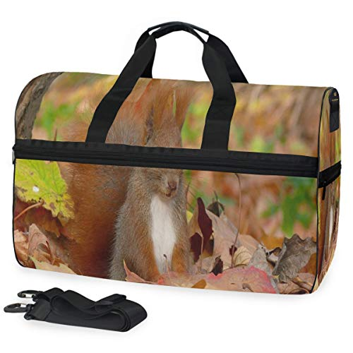 Travel Gym Bag Autumn Leaf Tail Fluffy Red Cute Squirrel Casual Fashion Bag With Shoes Compartment Foldable Duffle Bag For Men Women