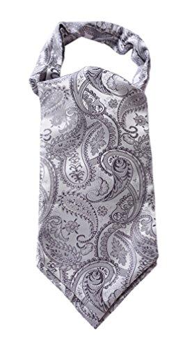 (Enmain Men's Floral Paisley Jacquard Woven Cravat Tie Ascot Gray / Silver)