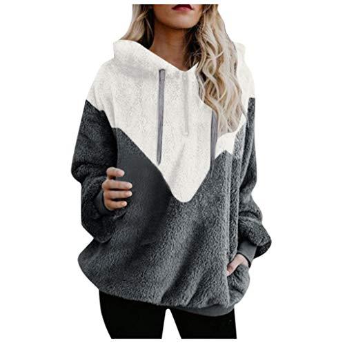 [해외]Redacel Women Hooded Patchwork Sweatshirt Winter Warm Plush Pullover Pockets Cotton Outwear / Redacel Women Hooded Patchwork Sweatshirt Winter Warm Plush Pullover Pockets Cotton Outwear(M,Gray)