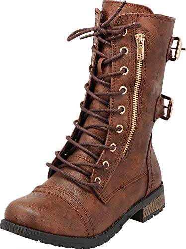 Cambridge Select Girls' Lace-Up Non-Slip Lug Sole Military Combat Boot (Toddler/Little Kid/Big Kid),3 M US Little Kid,Brown PU]()