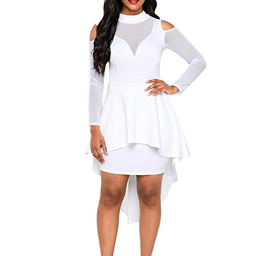 Lrady Women's Sexy Sheer Mesh Evening Gowns Plus Size Peplum High-Low Bodycon Party Dress, White, XXXX-Large