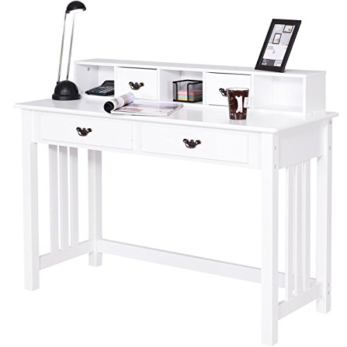 Giantex Writing Desk Table Office Computer Desk Wooden Legs Modern Home Mission Desk with 4 Storage Drawers, White (47.5