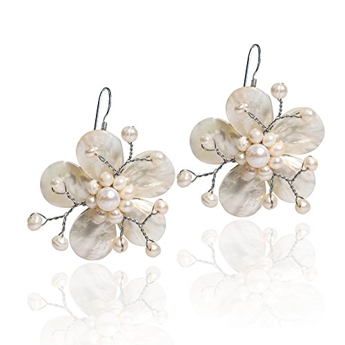 (Mother of Pearl and Cultured Freshwater Pearl Hawaiian Plumeria Flower .925 Sterling Silver Earrings)