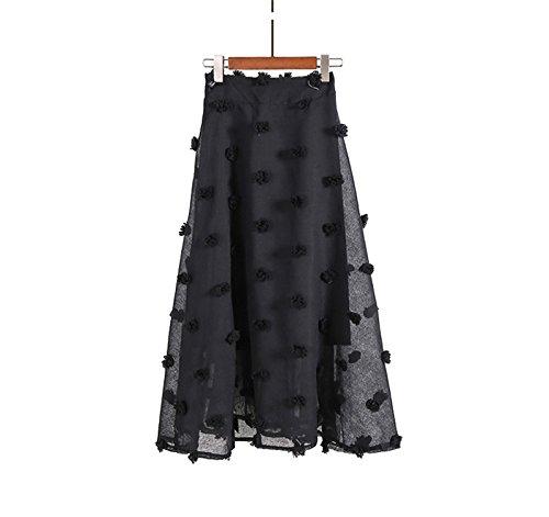 JIANGTAOLANG Women Tulle Summer High Waist Long Skirt Elastic Waist Sweet Linen Tutu Long Skirt B Black One Size
