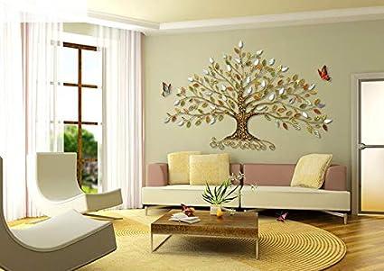 Arbres Color/és Grande Main LHB D/écoration De Mur Accrochant De Feuilles Exquises Mur Accrochant De Fer pour La D/écoration Int/érieure Art De Mur en M/étal 78cmx45cm,0.7