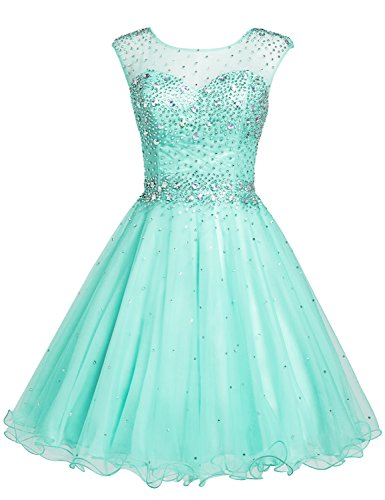 Sarahbridal Women's Short Tulle Beading Homecoming Dress Prom Gown US14 Mint