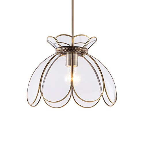 YIFI Vintage Lotus Flower One Light Pendant Lighting in Bronze and Glass Oriental Mini Chandeliers Antique Brass Ceiling Light Fixture for Kitchen Island Dining Room Bedroom Living Room, Clear by YIFI (Image #5)'