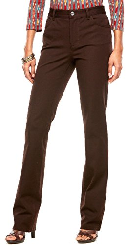 Chaps Women's Slimming Fit Twill Straight Leg Pants, Rider Brown (2 ()