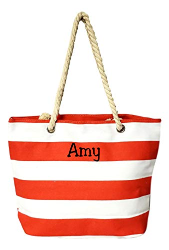 Custom Personalized 2 inch Stripe Medium Sized Zipper Beach Tote Bag (Red with Embroidered Name)]()