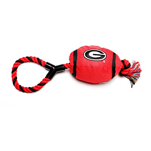 Pet Goods Georgia Bulldogs Football with Rope Toy