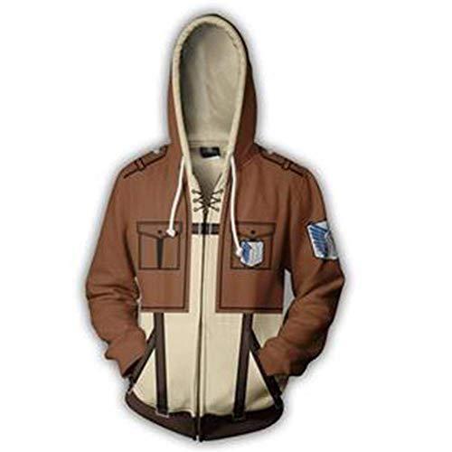 RAIN Unisex Attack on Titan Cosplay Costume Costume Fleece Hooded Coat Jacket Brown ()