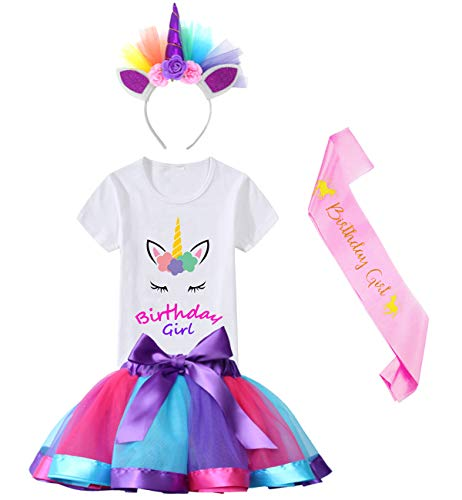 HBeatific Little Girls Layered Tulle Rainbow Tutu Skirt with Unicorn T-Shirt,Headband and Birthday Sash (Birthday-Deep Purple, M,3-4 T) ()