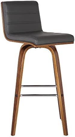 Armen Living Vienna Mid-Century Modern 30 Bar height Barstool Faux Leather Wood Finish, Grey Walnut