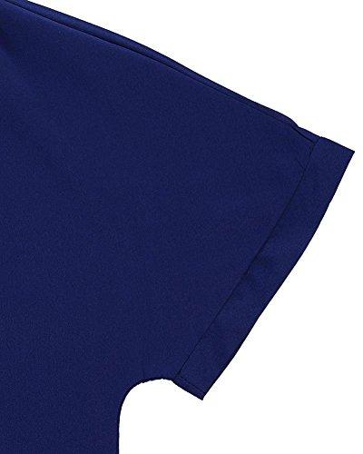 Gladiolus Mujer Gasa Camisas Cuello En V Manga Larga De La Camiseta De La Blusa Tops Zafiro