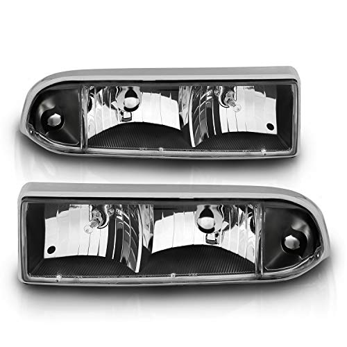 AmeriLite Crystal Headlights Black for Chevy S10 / Blazer- Passenger and Driver Side
