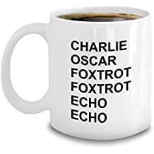 Ham Radio Operator Gifts - Phonetic Alphabet Mug - Coffee Charlie Oscar Foxtrot Echo - Aviation Military Code