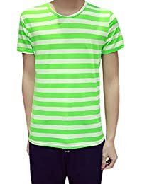 uxcell Men Short Sleeves Crew Neck Stripes Tee