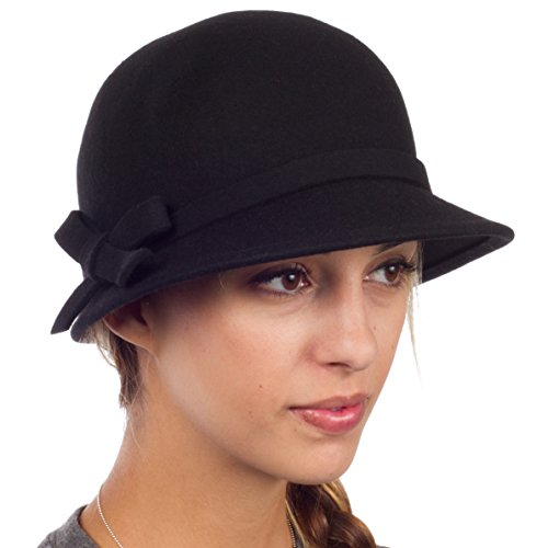 Sakkas 0621LC - Womens Vintage Style Wool Cloche Bucket Winter Hat with Ribbon Bow Accent - Black/One Size