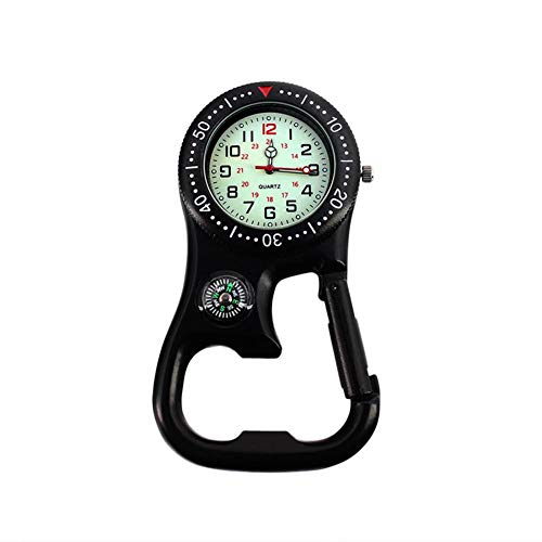 Calmson Multi-Function Carabiner Bottle Opener Keychain Compass Pocket Watch 3-in-1, with The Function of Luminous Belt, Suitable for Backpack Hanging Outdoor Climbing Hiking(Black)