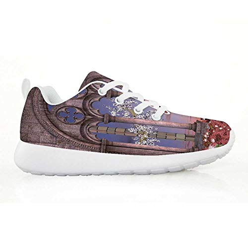 TecBillion Gothic Comfortable Running Shoes,Ancient Colonnade in Secret Garden with Flowers at Sunset Enchanted Forest for Kids Boys,EU30