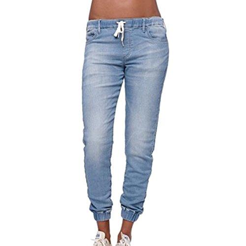 Dihope Femme Pantalon en Denim Cordon de Serrage Jeans Taille Basse lasique Pants Casual Bleu Ciel