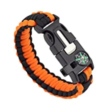Moonguiding 5 In 1 Survival Bracelet Multifunctional Outdoor Paracord Survival Gear Parachute Cord Flint Fire Starter Scraper Compass Whistle
