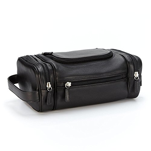 Multi Pocket Toiletry Bag - Full Grain Leather - Black Onyx (black) by Leatherology