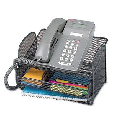 Onyx Angled Mesh Steel Telephone Stand, 11 3/4 x 9 1/4 x 7, Black, Sold as 1 Each - Onyx Telephone