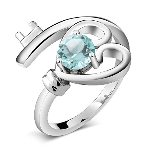 (Gem Stone King 0.50 Ct Round Sky Blue Topaz 925 Sterling Silver Heart Key Ring (Size)