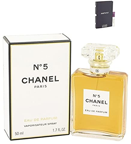 Chánel No. 5 Perfume Eau De Parfum Spray For Women 1.7 oz 50 ml. + Free! Sample Perfume Lalique Amethyst 0.06 oz - Chanel Green